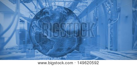 Globle surrounded by cardboard boxes against image of data center