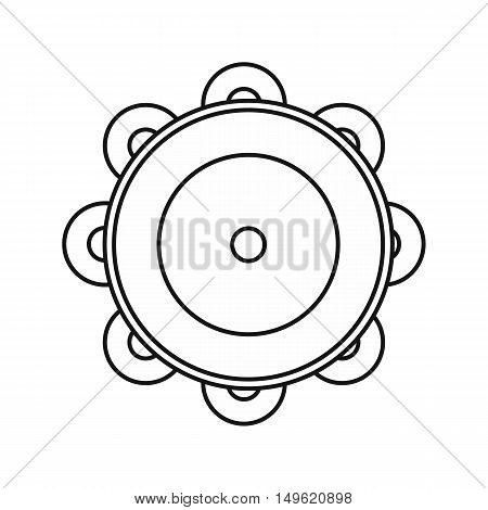 Tambourine icon in outline style on a white background vector illustration