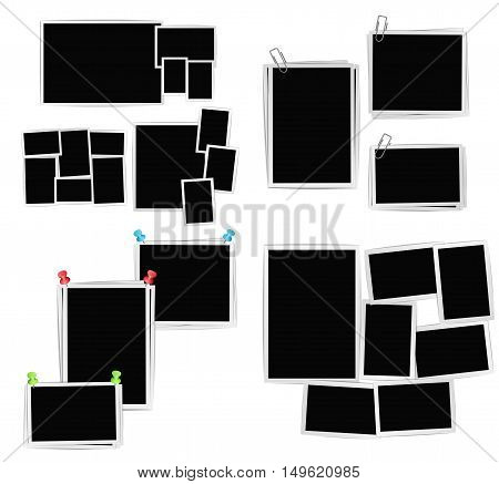 album photo frames composition set on white background. Vector design template