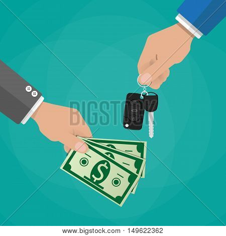 hand gives car keys to another hand with money. buy, rental or lease a car. vector illustration in flat dtyle on green background