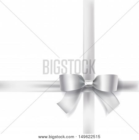 holiday silver satin bow ribbon on white border background. celebration design element. vector illustration