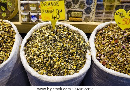 Orange With Green Tea In Egyptian Spice Bazaar