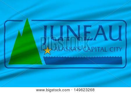 Flag of Juneau the capital of Alaska United States. 3D illustration