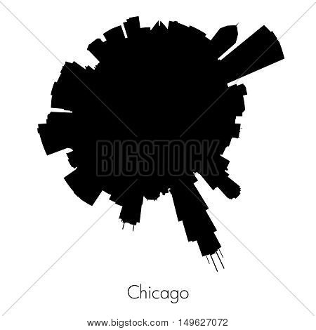 Chicago Planet circular skyline silhouette. Vector illustration