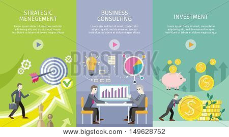 Strategic management, business consulting, investment vector web banners. Increasing capital and profits. Success planning and expected development. Expert informational support of business.