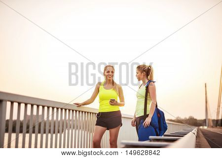 Talking While Doing Fitness Outdoors