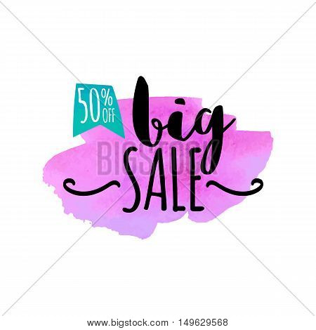 Vector hand drawn watercolor labels for sale. Blue and red sticker with text Big sale. Illustrations for graphic and web design, for shopping, sale and discount, web.