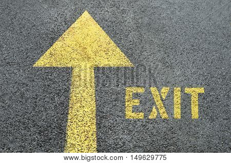 Yellow forward road sign with Exit word on the asphalt road. Business concept.