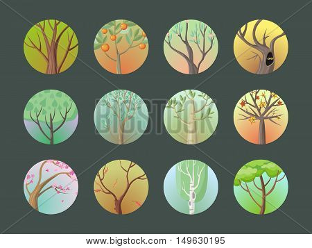 Vector trees set. Collection of trees. Oak, birch, sakura, planetree, maple, citrus, apple, pine. Cartoon style trees. Editable element for your design. Part of series of different trees Vector
