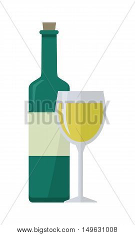 Bottle of white wine and wineglass. Bottle with label and glass of white wine. Wineglass full of white wine. Wine icon. Isolated object in flat design on white background. Vector illustration.