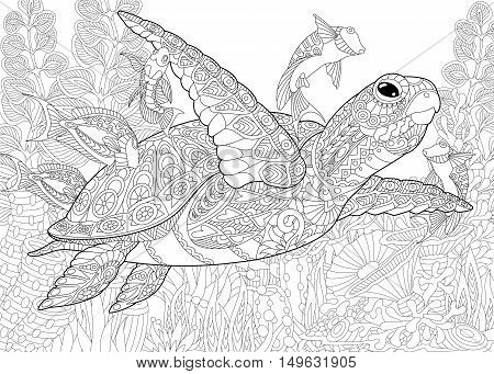 Stylized composition of turtle (tortoise) tropical fish underwater seaweed and corals. Freehand sketch for adult anti stress coloring book page with doodle and zentangle elements.