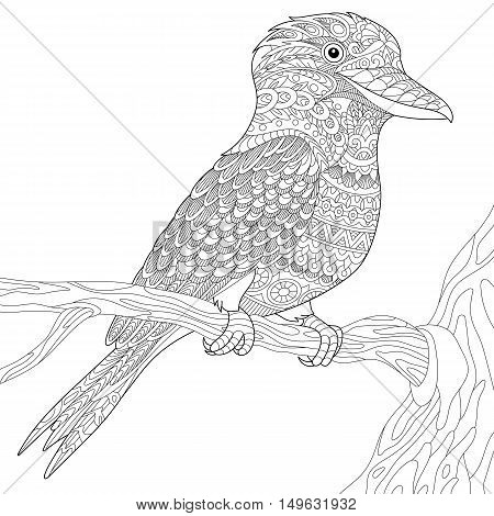 Stylized Australian Kookaburra Bird Isolated On White Background Freehand Sketch For Adult Anti Stress Coloring
