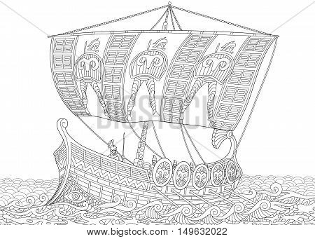 Stylized ancient greek galley (warship) with mast sail oars and warriors with spears and shields. Freehand sketch for adult anti stress coloring book page with doodle and zentangle elements.