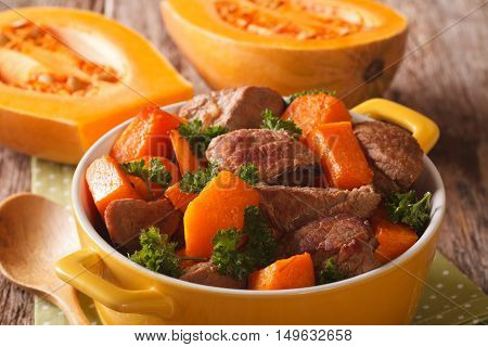 Healthy Food: Beef Stew With Pumpkin And Spices Close Up. Horizontal