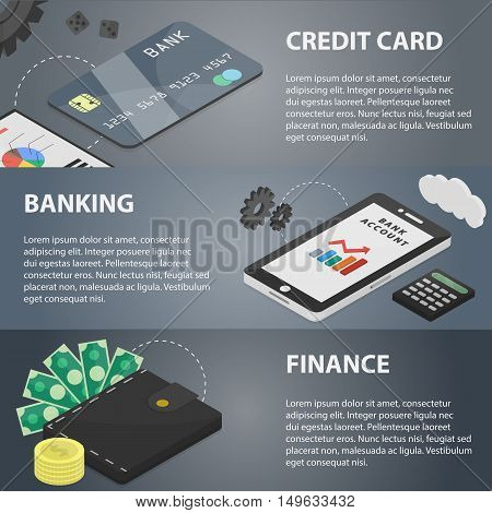 Vector isometric horizontal banners of banking and marketing for websites. Concept of finance, e-commerce, economy, credit card and bank system. Set of business and marketing elements.