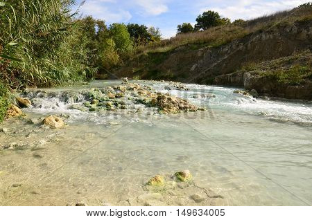 Natural thermal baths in Saturnia Italy part of Tuscany