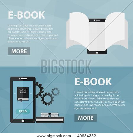 Vector flat banners of e-book for website. Business concept of internet bookstore, online learning and knowledge market.