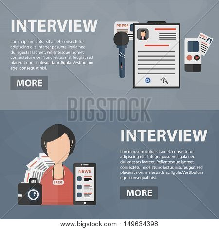 Vector flat banners of interview for website. Business concept of journalist profession, broadcasting and media work. Set of isolated interview equipment.