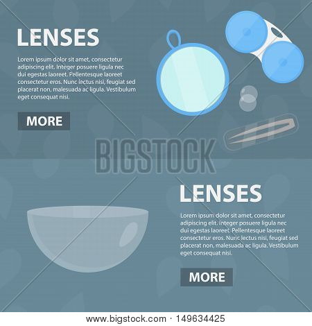 Vector flat banners of ophthalmic lenses for website. Business concept of eye care and ophthalmologist profession. Set of isolated lenses equipment.