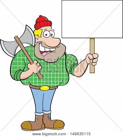 Cartoon illustration of a lumberjack holding a sign.