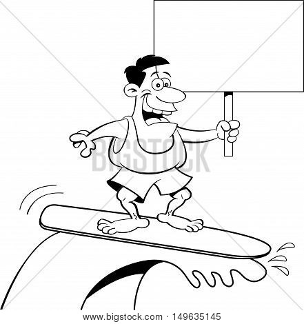 Black and white illustration of a man surfing while holding a sign.