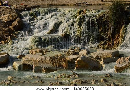Saturnia's thermal hot springs in Tuscany Italy.