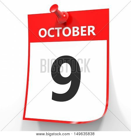 October 9. Calendar On White Background.