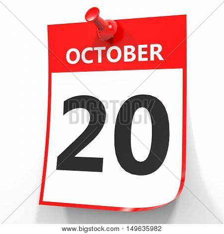 October 20. Calendar On White Background.
