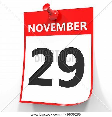 November 29. Calendar On White Background.