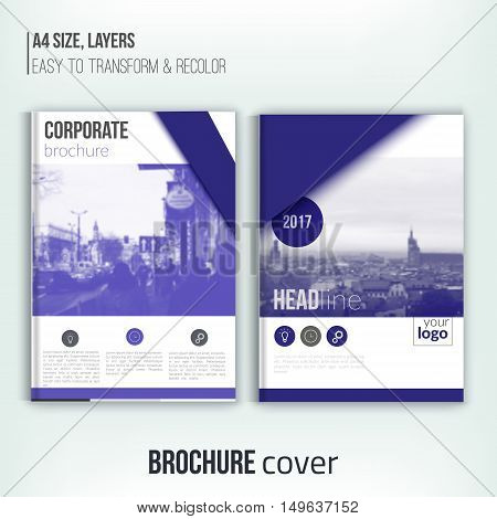 Clean brochure cover template with blured duotone city landscape and triangular shapes. Blue Corporate identity. Business design, flyer, professional