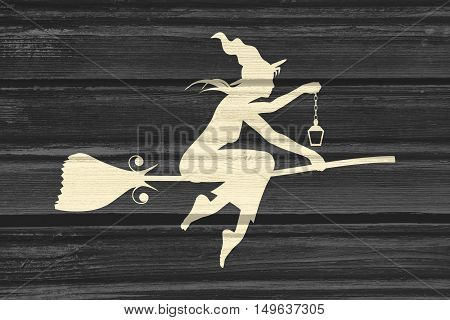 Illustration of flying young witch icon. Witch silhouette on a broomstick. Lamp in hand. Halloween relative image. Wood texture