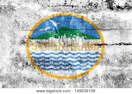 Flag Of Staten Island, New York, Usa, Painted On Dirty Wall