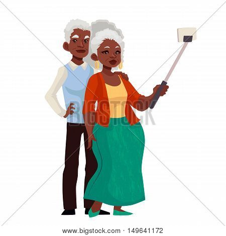Elder grey-haired african american couple taking selfie, cartoon style illustration. Older casually dressed black skinned man and woman taking pictures of themselves using phone and monopod