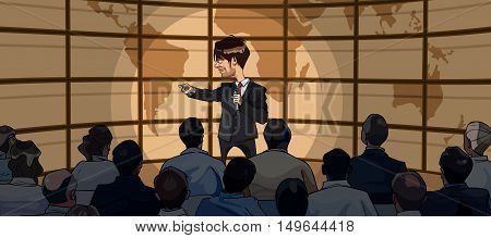 cartoon man in suit with microphone in hand stands in front of an audience