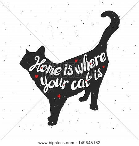 Silhouette of a cat. Hand drawn typography poster greeting card for t-shirt design