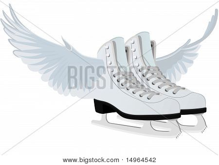 Women's skates for figure skating with wings