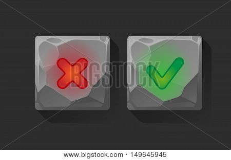 Vector on off buttons pushed . User Interface. Vector Illustration EPS10.web 2.0 buttons of validation icons.Approved and rejected buttons