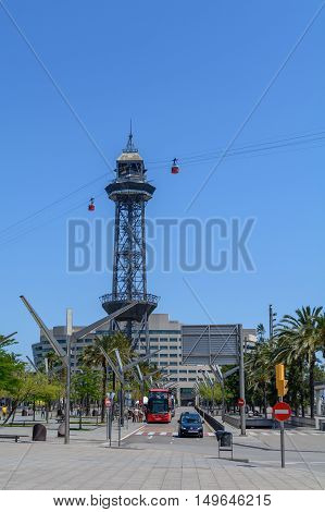 Barcelona, Spain - June 6: Aerial Gondola Lifts On June 6, 2016 In Barcelona, Spain. Aerial Gondola