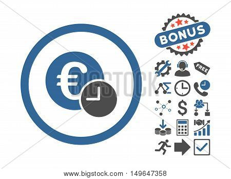 Euro Credit pictograph with bonus pictogram. Glyph illustration style is flat iconic bicolor symbols, cobalt and gray colors, white background.