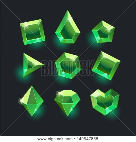 Set of cartoon green different shapes crystals, gemstones, gems, diamonds vector gui assets collection for game design.isolated vector elements.Gui elements, vector games assets.menu for mobile games