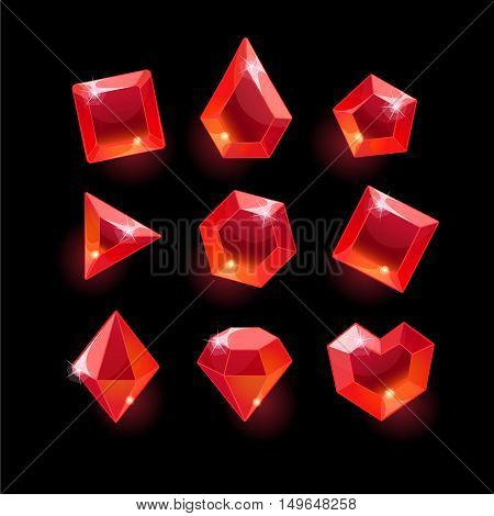 Set of cartoon red different shapes crystals, gemstones, gems, diamonds vector gui assets collection for game design.isolated vector elements.Gui elements, vector games assets.menu for mobile games
