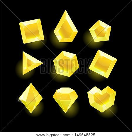 Set of cartoon yellow different shapes crystals, gemstones, gems, diamonds vector gui assets collection for game design.isolated vector elements.Gui elements, vector games assets.menu for mobile games