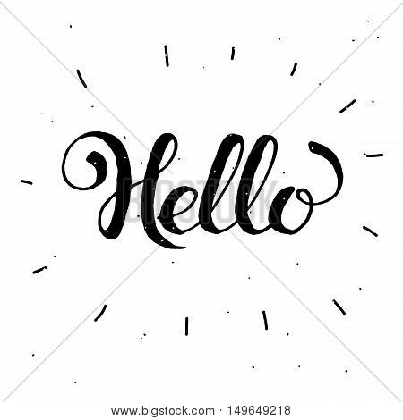 Hand-drawn word Hello in black color.Handwritten lettering ink for posters, greeting cards.Vector calligraphy.Modern text, handwritten with brush and black ink, isolated on white background.