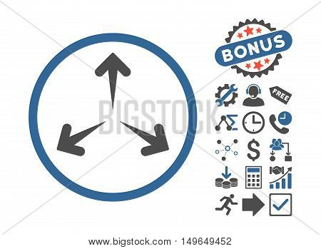 Expand Arrows icon with bonus icon set. Glyph illustration style is flat iconic bicolor symbols, cobalt and gray colors, white background.