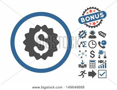 Financial Reward Seal icon with bonus elements. Glyph illustration style is flat iconic bicolor symbols, cobalt and gray colors, white background.