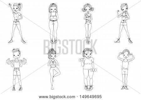 Sketch Healthy Lifestyle Vector People Set Illustration with Fitness Girls and Fitness Guys Wearing Sportswear, Exercising with Dumbbells. Isolated Black and While Sport Illustration Collection