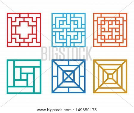 Square pattern window in Chinese style vector design