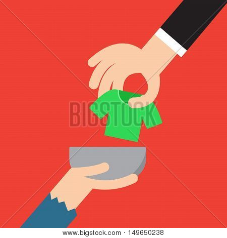 Donation concept. Hand putting cloth to poor man vector