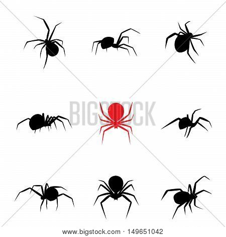 Black widow spider in silhouette style vector