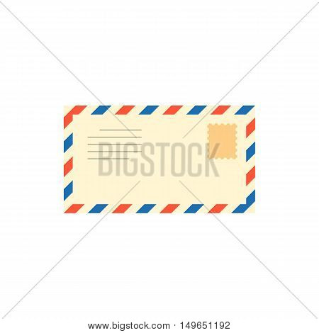 vintage envelope, email, or air mail icon with stamp, post mail letter illustration, flat design